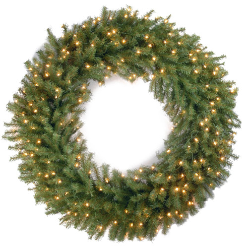 Pre-Lit Norwood Fir Deluxe Artificial Christmas Wreath - 48-Inch, Clear Lights - IMAGE 1