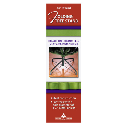 Black and Green Metal Folding Tree Stand for 6.5'-8' Artificial Trees - IMAGE 1