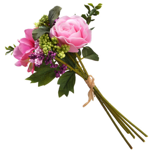 """12"""" Pink and Green Rose Bundle Artificial Flower Bouquet - IMAGE 1"""