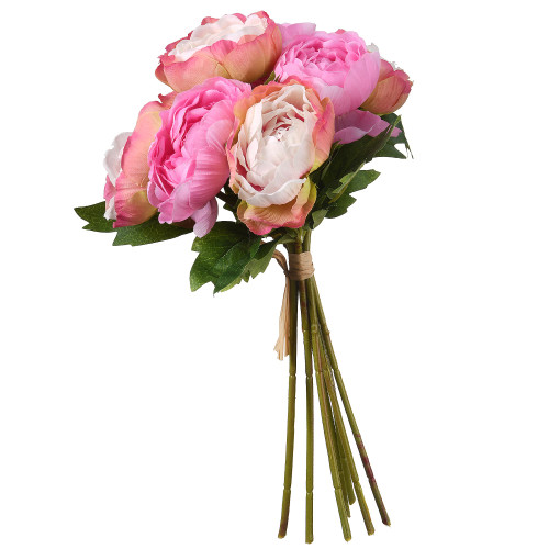 """11"""" Pink and Green Peonies Bundle Artificial Flower Bouquet - IMAGE 1"""