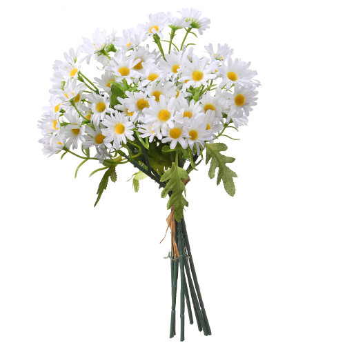 """13"""" White and Green Mini Daisies Bundle Artificial Flower Bouquet - IMAGE 1"""