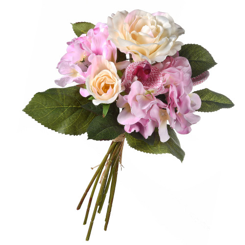 """12"""" Pink Rose and Orchids Bundle Artificial Flower Bouquet - IMAGE 1"""