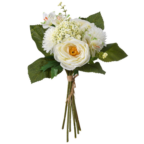 """13"""" White and Green Peony Rose Bundle Artificial Flower Bouquet - IMAGE 1"""
