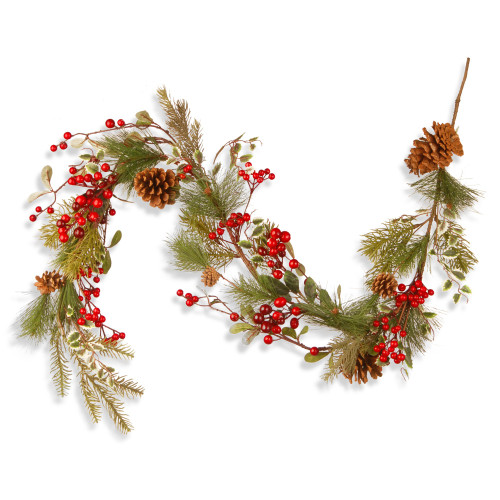 5' Green and Red Berry Artificial Christmas Garland - Unlit - IMAGE 1