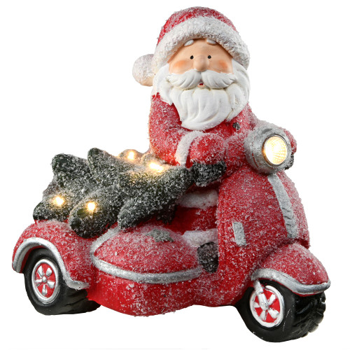 "14"" Red and White Lighted Santa on Scooter Christmas Tabletop Figurine - IMAGE 1"