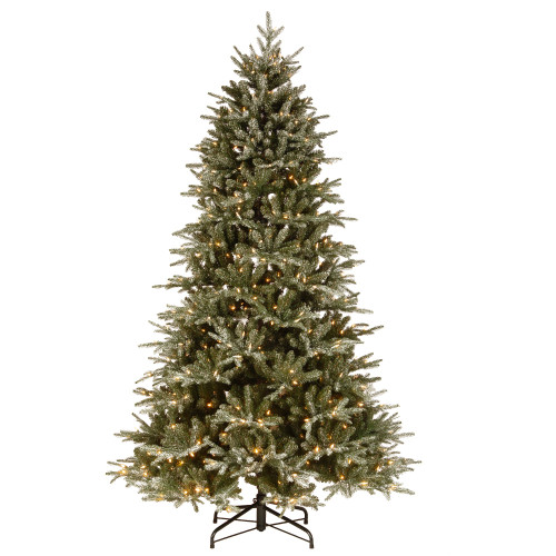 7.5' Pre-Lit Medium Frosted Artificial Christmas Tree - Clear Lights - IMAGE 1