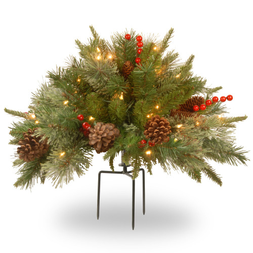 """27"""" Green and Red Battery Operated LED Lighted Colonial Urn Filler Christmas Decor - IMAGE 1"""