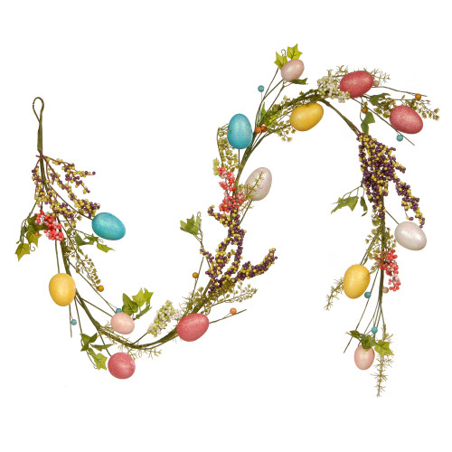 4.75' Green and Blue Easter Eggs Artificial Christmas Garland - Unlit - IMAGE 1