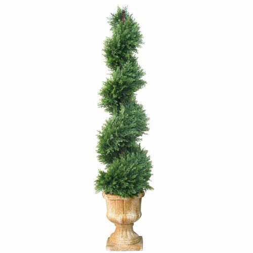 4.5' Potted Juniper Spiral Slim Artificial Christmas Tree - Unlit - IMAGE 1