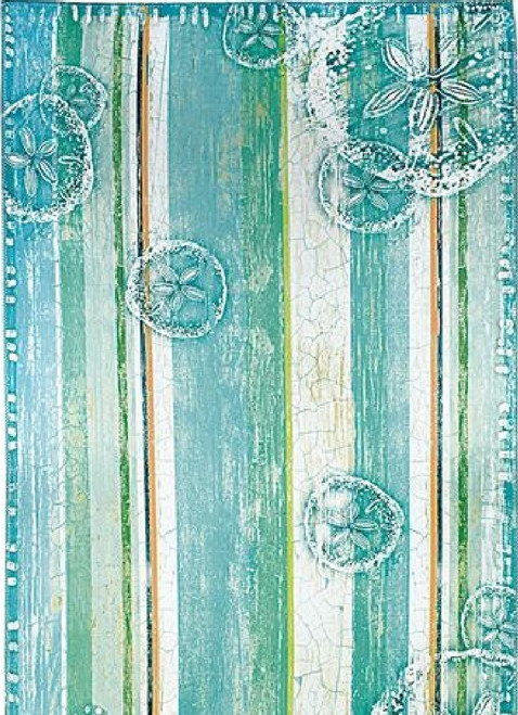 5' x 7' Blue and Green Ocean Floor Inspired Area Rug - IMAGE 1