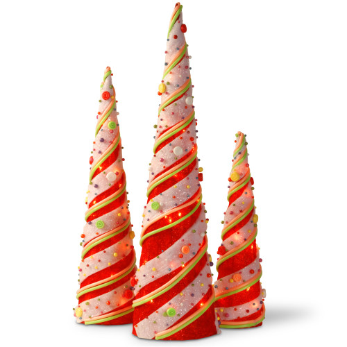 """Set of 3 Red and Beige Pre-Lit Cones Christmas Decor 39.25"""" - IMAGE 1"""
