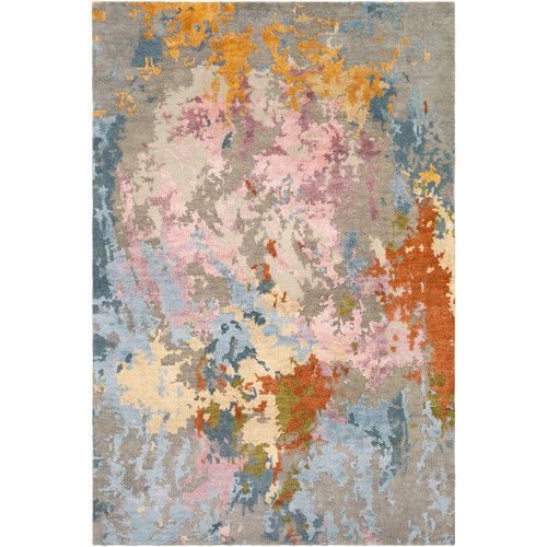 6' x 9' Distressed Finish Beige and Gray Rectangular Area Throw Rug - IMAGE 1