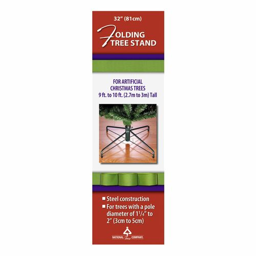 Black and Green Metal Folding Tree Stand for 9'-10' Artificial Trees - IMAGE 1