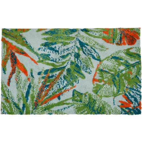 1.8' x 2.8' Tropical Sketchbook Green and Orange Rectangular Area Rug - IMAGE 1
