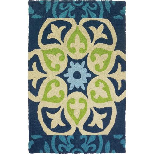 4.8' x 6.5' Barcelona Tile Blue and Green Rectangular Outdoor Area Throw Rug - IMAGE 1
