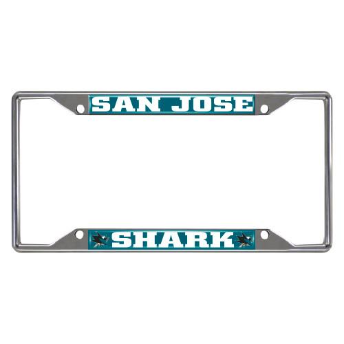 NHL San Jose Sharks Chrome Rectangular License Plate Frame - IMAGE 1