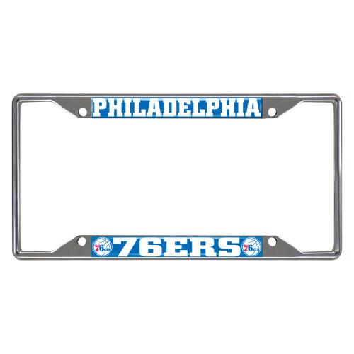 NBA Philadelphia 76ers Chrome Rectangular License Plate Frame - IMAGE 1