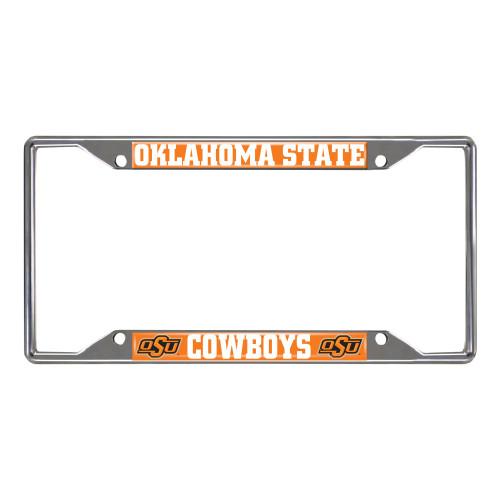NCAA Oklahoma State Cowboys Chrome Rectangular License Plate Frame - IMAGE 1
