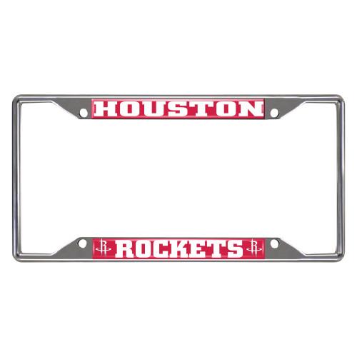 NBA Houston Rockets Chrome Rectangular License Plate Frame - IMAGE 1