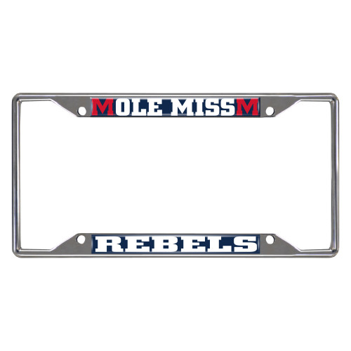 """12.25"""" x 6.25"""" Stainless Steel and White NCAA Mississippi Ole Miss Rebels Rectangular License Plate Frame - IMAGE 1"""