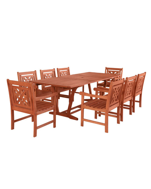 """9-Piece Brown Natural Wood Finish Extendable Table Outdoor Furniture Patio Dining Set with Plaid Chairs 91"""" - IMAGE 1"""