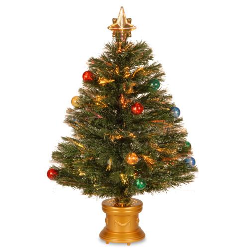 "32"" Pre-Lit Medium Fiber-Optic Artificial Ornamented Christmas Fireworks Tree - LED Lights - IMAGE 1"