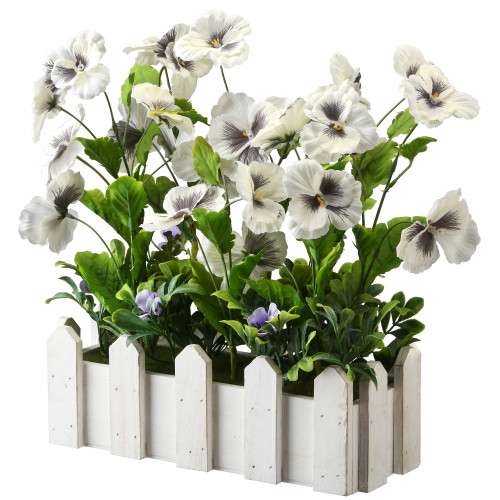 "14"" Green and White Planter with Artificial Pansy Flowers - IMAGE 1"