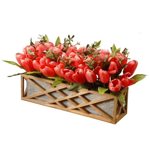 "20"" Red and Brown Planter with Artificial Tulip Flowers - IMAGE 1"
