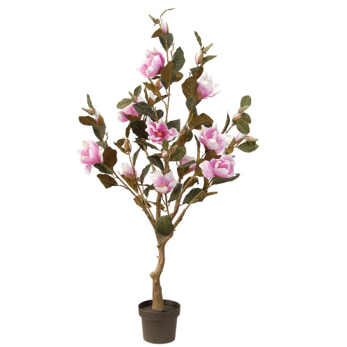 "48"" Potted Artificial Pink and Green Magnolia Flower Tree - IMAGE 1"