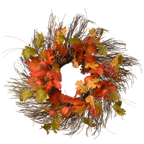 Orange and Green Maple Leaves Artificial Autumn Wreath - 26-Inch, Unlit - IMAGE 1