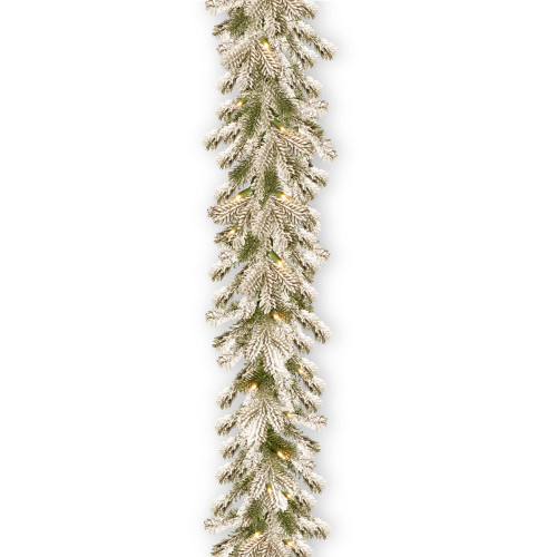 "9' x 12"" Pre-Lit Snowy Sheffield Spruce Artificial Christmas Garland - Clear Lights - IMAGE 1"