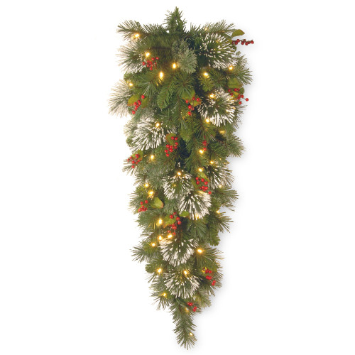 "48"" Pre-Lit Wintry Pine Battery Operated Artificial Christmas Teardrop Swag - Warm White LED Lights - IMAGE 1"