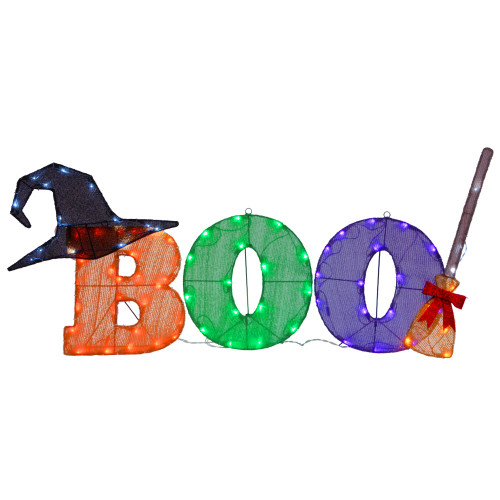 """23"""" Orange and Purple LED Lighted BOO Sign Outdoor Halloween Decor - IMAGE 1"""