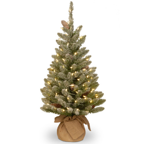 3' Pre-lit Battery Operated Medium Snowy Concolor Fir Artificial Christmas Tree - Warm White LED Lights - IMAGE 1