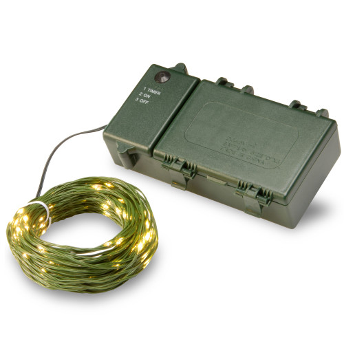 150 Warm White LED Battery Operated Christmas Lights - 72 ft Green Wire - IMAGE 1