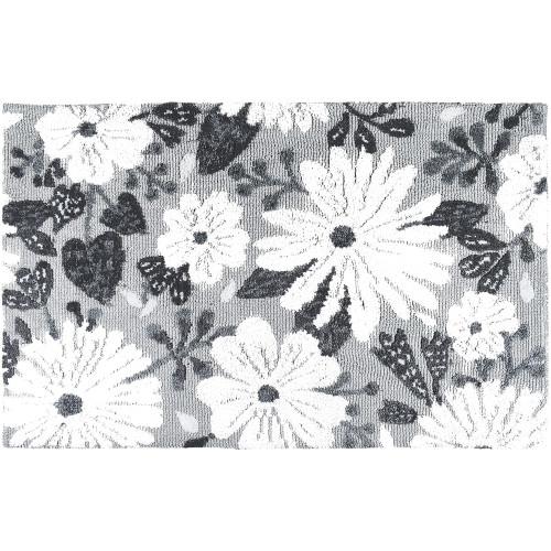 1.75' x 2.75' Wildflowers Gray Rectangular Area Throw Rug - IMAGE 1