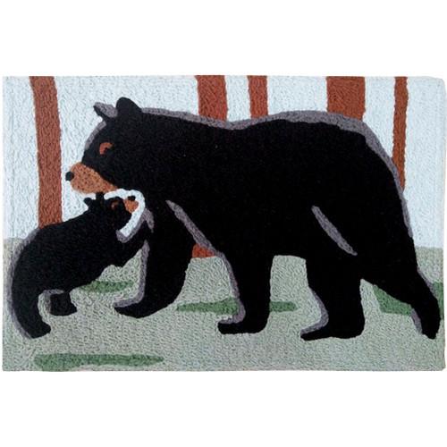 1.6' x 2.5' Bear and Cub Black Rectangular Area Throw Rug - IMAGE 1