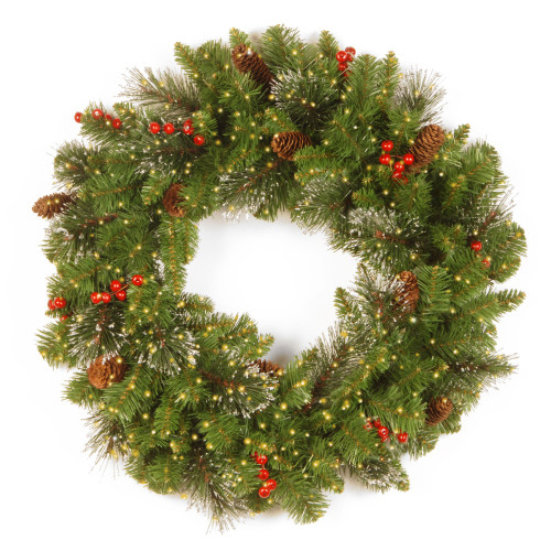 """24"""" Pre-Lit Crestwood Spruce Battery Operated Artificial Christmas Wreath - Warm White LED Infinity Lights - IMAGE 1"""