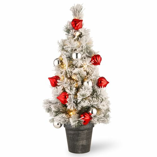 3' Pre-Lit Potted Snowy Bristle Pine Medium Artificial Tabletop Christmas Tree - Warm White LED Lights - IMAGE 1