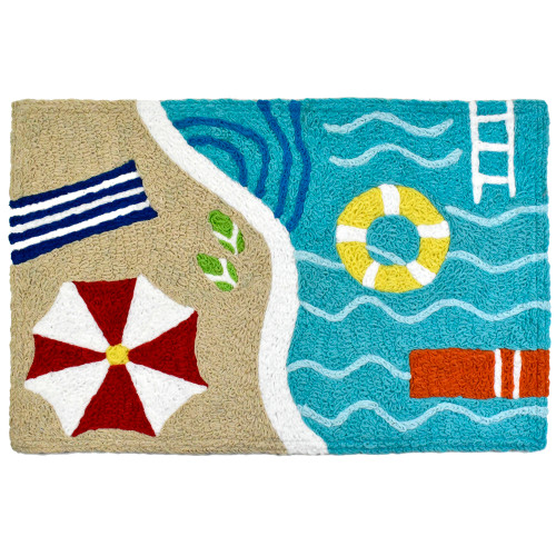 1.6' x 2.5' Blue and White Poolside Rectangular Area Throw Rug - IMAGE 1