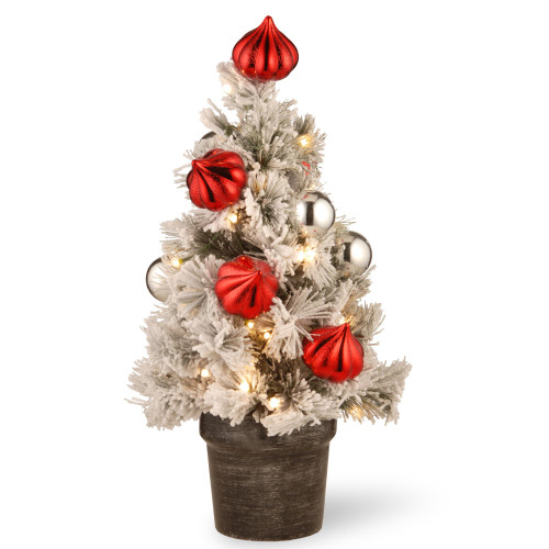 2' Pre-Lit Potted Snowy Bristle Pine Medium Artificial Tabletop Christmas Tree - Warm White LED Lights - IMAGE 1