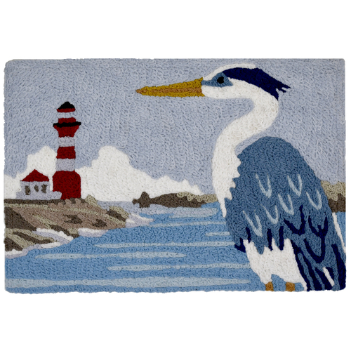 1.6' x 2.5' Heron And Lighthouse Blue and White Rectangular Area Throw Rug - IMAGE 1