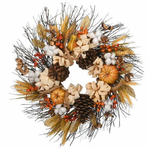 Pinenut Artificial Thanksgiving Wreath - 22-Inch, Unlit - IMAGE 1