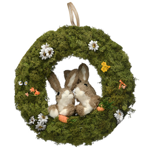 Green and Brown Artificial Easter Wreath - 15-Inch, Unlit - IMAGE 1