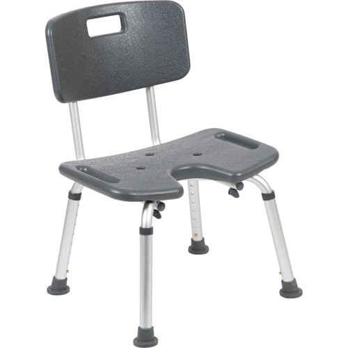 """33.75"""" Gray and Silver Extra Large Back Medical Grade Shower Chair - IMAGE 1"""