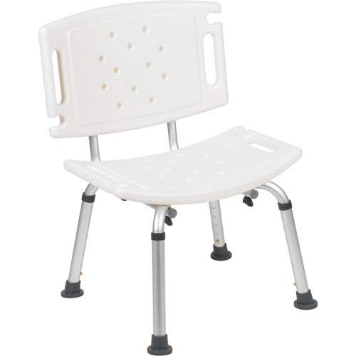 """32.25"""" White and Silver Extra Large Back Medical Grade Shower Chair - IMAGE 1"""