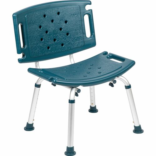 """32.25"""" Navy Blue and Silver Medical Grade Shower Chair with Extra Large Back - IMAGE 1"""