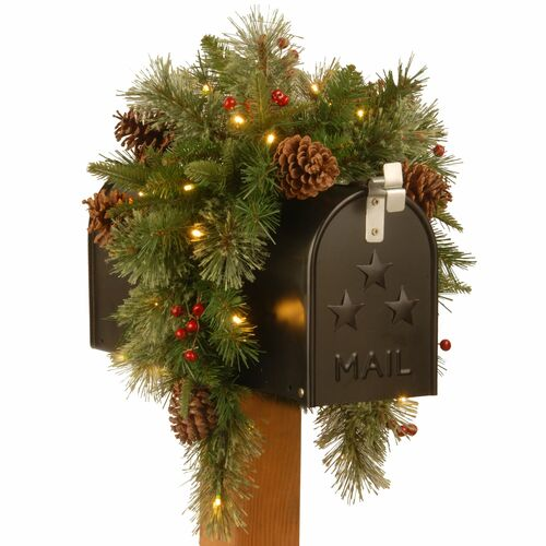"36"" Colonial Battery Operated Artificial Christmas Mailbox Swag - Warm White LED Lights - IMAGE 1"