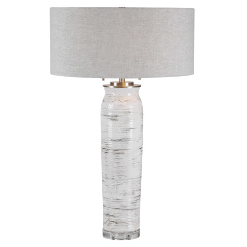 "30"" Contemporary Table Lamp with Gray Round Hardback Shade - IMAGE 1"