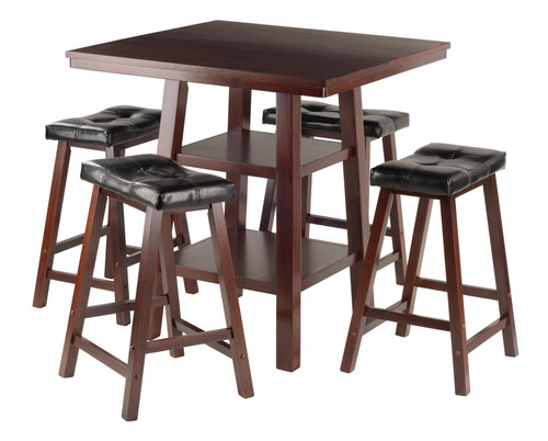"""Set of 5 Rich Walnut High Table with Cushion Seat Stools 36"""" - IMAGE 1"""